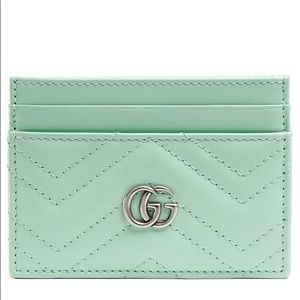 Gucci Marmont Leather Card Holder Case River Green